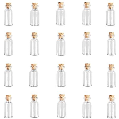 Mini Botellas De Cristal,20 Piezas Botellas De Vidrio Pequeñas Con Tapones De Corcho,Tarro De Vidrio Transparente Para Bricolaje Bodas Fiestas Decoración 2ml