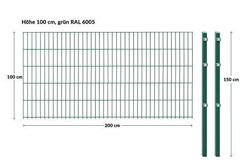 Einstabmattenzaun/Stabmattenzaun, H 100 cm, grün, 10-50m - inklusive Pfosten - Komplett Set (10 m)