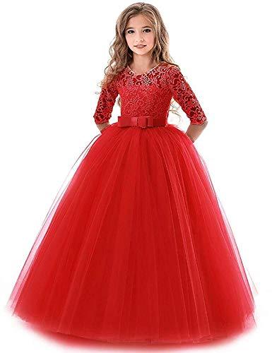 IBTOM CASTLE Blumensmädchenkleid Prinzessin Festliches Herbst Kinder Mädchen Kleid Festzug Kleider Hochzeit Partykleid rot 5-6 Jahre