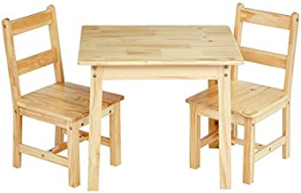 Amazon Basics Kids Solid Wood Table and 2 Chair Set, Natural