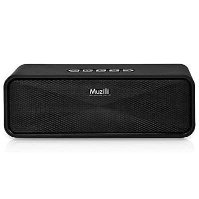 Bluetooth Speakers Portable Muzili Wireless Outdoor Stereo Speaker Mini Travel Soundbars HD Audio Enhanced Bass Dual-Driver 10 Hour Playtime with Micro SD&TF Slot Handfree Calling (Black) from Muzili