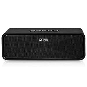 Muzili Altavoz Bluetooth Portátil Altavoz Inálambrico Bluetooth 5.0 con Bass Radiador Pasivo y Micrófono Incorporado Llamadas Manos Libres 10 Horas para AUX/Tarjeta TF/USB