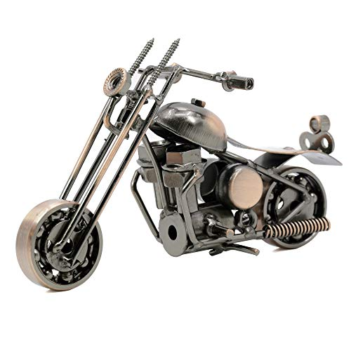 Pop Time Bronze Retro Classic Handmade Iron Motorcycle Handcrafted Iron Metal Motorcycle Collectible Art Sculpture Motorbike for Home Decor (15.5x6x10cm)
