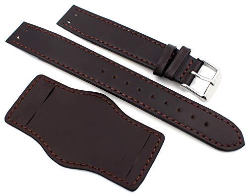 Correa de reloj Sulla de 24 mm para barras fijas, estilo con base, color marrón oscuro