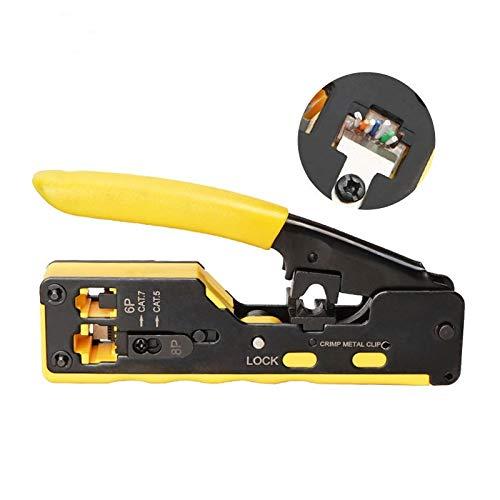 XUSHEN-HU Herramientas de mano RJ45 herramienta de crimpadora de cable de red para RJ45, Cat7, Cat6, Cat5, RJ11, RJ12, conectores modulares de metal, pinzas de pinza