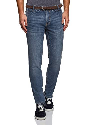 oodji Ultra Herren Jeans Slim Fit Basic, Blau, 28W / 34L (DE 28 / XS)