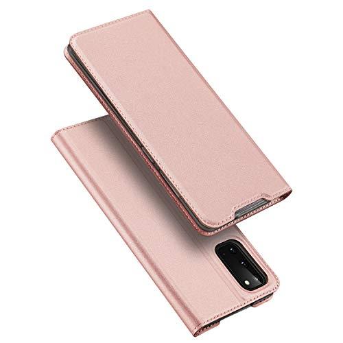 DUX DUCIS Hülle für Samsung Galaxy S20, Leder Klappbar Handyhülle Schutzhülle Tasche Hülle mit [Kartenfach] [Standfunktion] [Magnetisch] für Samsung Galaxy S20 (Rose Golden)