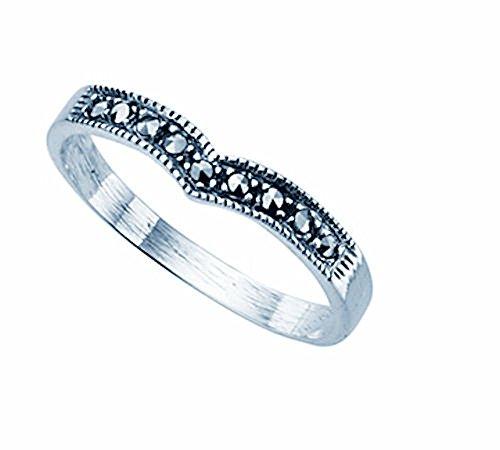TF feiner Markasit-Ring mit Spitze, Sterling-Silber 925 Größe 52 (16.6) - Damen
