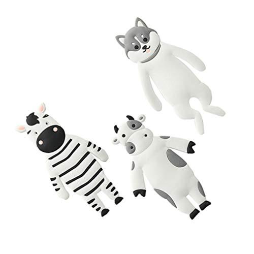 Cabilock 3 Piezas Lindos Ganchos Magnéticos de Animales Decorativos de Vinilo de Dibujos Animados de Vaca Cebra Perro Nevera Ganchos Colgantes para Abrigos Bolsas de Bufanda Colgador de