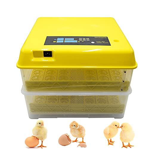 Egg Incubator, Digital Egg Hatcher Clear Poultry Hatching Machine Automatic Egg Turning Temperature & Humidity Control with Water Inject Bottle for Chicken Duck Quail Bird Eggs (96)