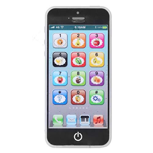 Zerodis Teléfono móvil de simulación para niños, máquina de Aprendizaje multifunción para niños Juguetes de Aprendizaje Educativo temprano con música para niños Mayores de 3 años(Ruso Negro)