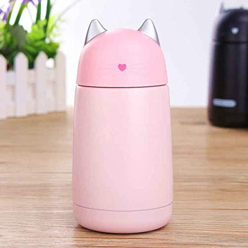 New Cartoon Cat Thermo Mug Drinkware Botella de Agua para niños Frasco de vacío para niños de Acero Inoxidable Vaso Vaso a Prueba de Fugas - Paquete Pink OPP