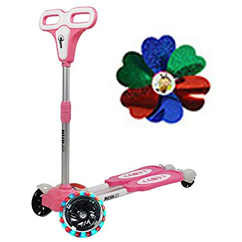 PLLP Outdoor Sports Scooter Kick,Adjustable Kids Kick for 2-9Yr Old Boys/Girls, Detachable Flashing Wheel for 50Kg Load, Best Gift for Toddlers Adult Child Toy Balance Car Mini,Pink