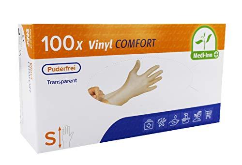 Medi-Inn Vinyl puderfrei Einmalhandschuhe Größe S | 100 Stück | Vinylhandschuhe transparent in praktischer Spenderbox