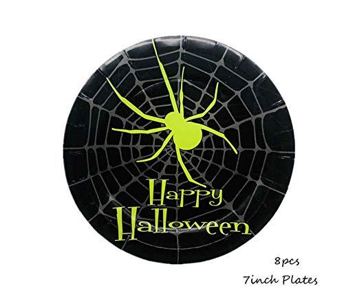 ZZDJ Einweggeschirr Papier Halloween Spider Einweggeschirr Set Cartoon Halloween Einweg-Teller/Tassen/Servietten Halloween Dekoration Zubehör 8 Stück 7 Zoll