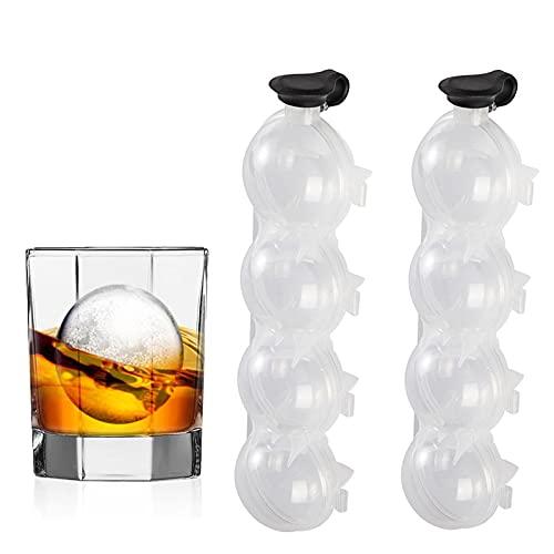 FUFRE 2 moldes para cubitos de hielo, 4 agujeros, para whisky, cubitos de hielo redondos, para cerveza, cócteles, whisky, bares.