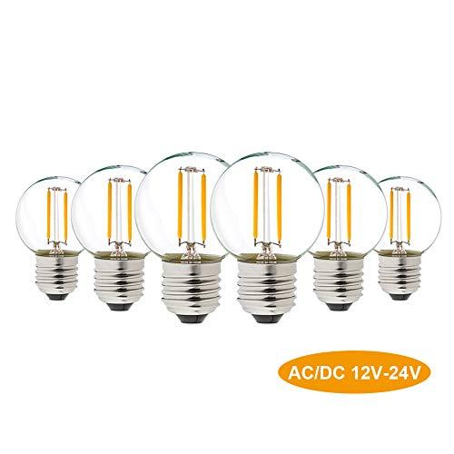 G40 LED Filament Mini Globe String Glühbirne AC/DC 12-24 V Niederspannungs-Edison-Glühbirne 1 W E27 Schraubensockel Warmweiß 2700K 10W Ersatz für Innen- und Außendekoration nicht dimmbar 6er-Pack