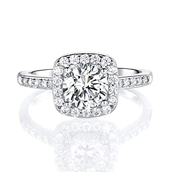 18K White Gold Plated Cubic Zirconia Promise Halo Engagement Promise Eternity Ring for Women  rhodium-plated-brass 7