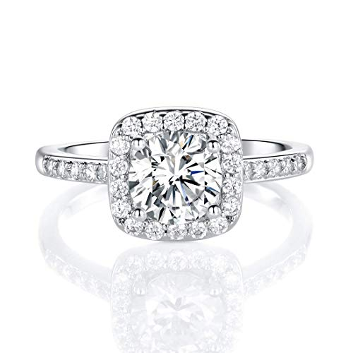 18K White Gold Plated Cubic Zirconia Promise Halo Engagement Eternity Rings for Women (rhodium-plated-brass, 8)