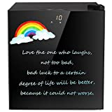 Mini Freezer Only Countertop, Opaque Graffiti Glass Door Compact Upright Freezer with a Removable Basket/a Removable Shelf, from 7 ℉ to -11℉/ LCD Display Screen Muti-size (1.1 cu ft)