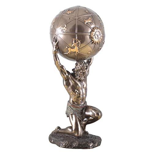 Unbekannt Veronese Figur Griechicher Gott Atlas mit Himmels-Kugel Atlasgebirge Skulptur