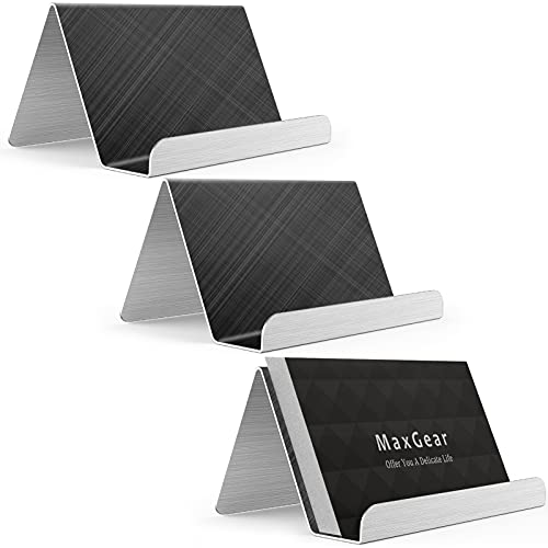 MaxGear Business Card Holder for Desk Business Card Display Holders Metal Business Cards Stand Desktop Name Card Organizer, Capacity: 50 Cards, 3 Pack, Grid Black, Brushed Stainless Steel