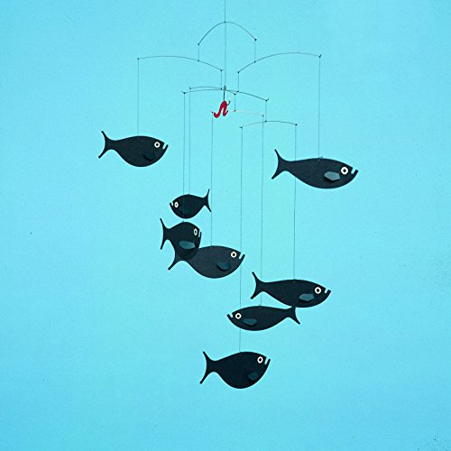 Flensted Mobiles Shoal Of Fish Hanging Mobile - 24 Inches Cardboard
