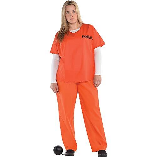 amscan 845523-55 Prisoner Camisa y pantalones para adultos, talla grande, 1 unidad, negro/naranja