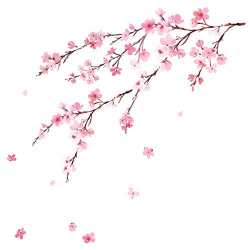 DECOWALL DWL-2003 Acuarelas flores de cerezo Vinilo Pegatinas Decorativas Adhesiva Pared Dormitorio Saln Guardera Habitaci Infantiles Nios Bebs