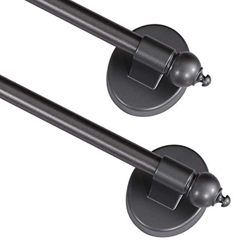"""Turquoize Magnetic Curtain Rod 5/8"""" Multi-Use Versatile Adjustable Appliance Magnetic Rod Extends from 9 inch to 16 inch Magnetic Cafe Curtain Rod, Pewter, 2 Pack"""