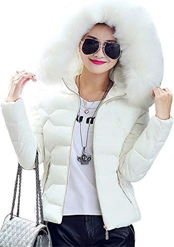 OMZIN Damen Winterjacke mit Echtfell Wintermantel Mantel Jacke Winterparka Echt Fell Gefüttert Parka Kapuze Pelz warm Pelzkragen Weiß S