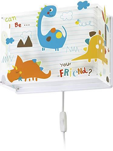 Dalber Lámpara Infantil Aplique Pared Dinosaurios Dinos, 60 W, Multicolor