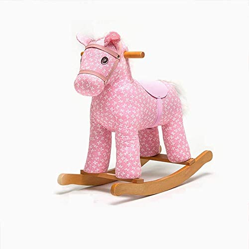 Rocking horse GCX Rockers Ride-ons Baby Wooden For 12-72 Months Boys And Girls Plush Toys Children's Animal Seat Soft Rocke Chair smooth (Color : Pink)