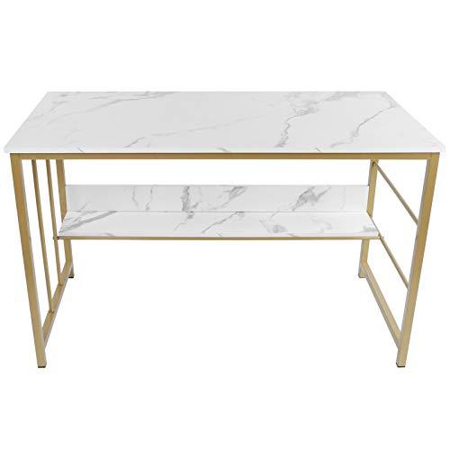 Escritorio de computadora, escritorio de estudio de escritura moderno, mesa de escritura con estante de almacenamiento para oficina en casa, marco de metal, fácil montaje