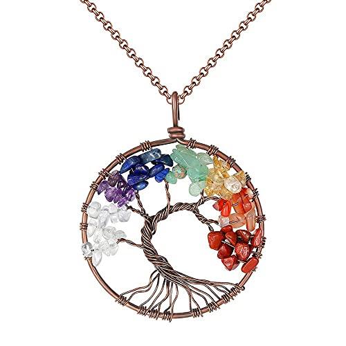 ZHUDJ Collar con Colgante de árbol de la Vida, Collar de Piedra Natural de Cristal de Cobre, Colgantes de Piedras de Cuarzo, Mujer