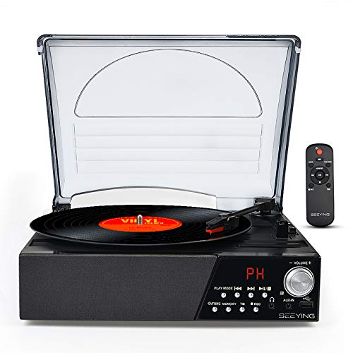 Vinyl Record Player Bluetooth Radio Turntable LP Player with Speaker USB Vinyl to MP3 Encoding Vintage 3 Speed Phonograph