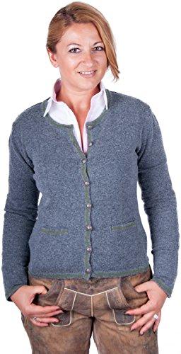 Almwerk Damen Trachten Strick Jacke Diana in grün, blau, grau schwarz und Fuchsia, Größe Damen:XL - Größe 42;Farbe:Stein/Grün