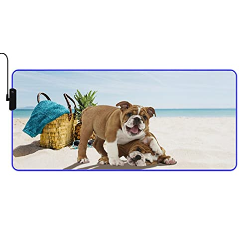 VINISATH Table Mat,Beach Funny Time French Bulldog,LED Large RGB Waterproof Gaming Mouse Pad Non-Slip Base Luminous Protector Table Mat for Gaming, PC, Laptop, Office,Home 35.4x15.7 Inches