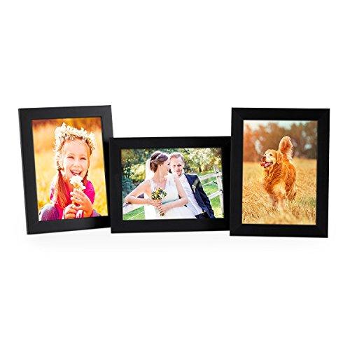 Set de 3 Cadres Photo 13x18 cm, Noir, Moderne, MDF, avec vitre et Accessoires/Cadre Photo