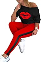 VITryst Women Splicing Slouchy Sports Oversize 2 Piece Set Printed Sweatsuits Tracksuits Red 2XL