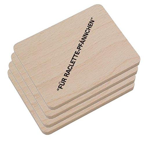 HOFMEISTER® Raclette Zubehör aus Holz, Schaber und Untersetzer für Raclette-Pfännchen, hochwertiges Naturprodukt aus EU Familienbetrieb (4x Brett