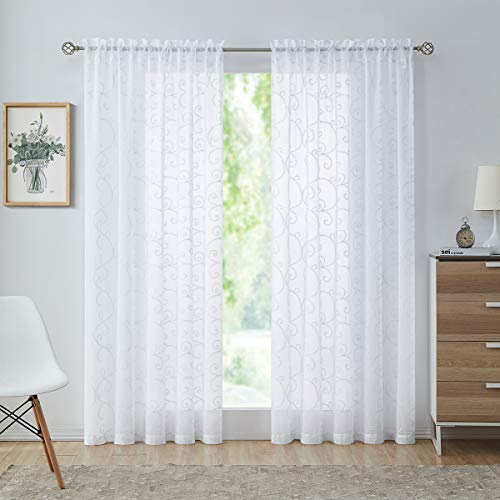 """White Sheer Curtains 84 Inches Long for Living Room Bedroom, Glitter Silver Scroll Embroidered Voile Drapes, Rod Pocket Window Treatments 54"""" W 2 Panels Sets"""