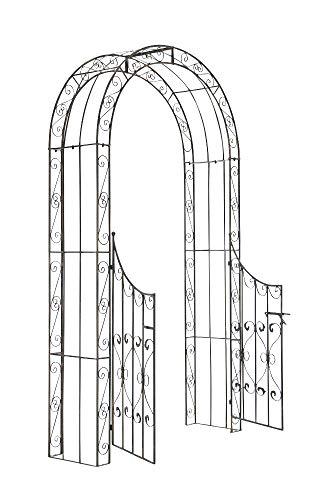 CLP Arco De Jardín con Puerta Sina I Enrejado con Puerta para Plantas De Escalada I Arco para Flores con Puerta En Diseño Clasico I Color: Bronce