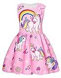 AmzBarley Robe de Licorne pour Fille sans Manches Robes Fête Princesse Costume Enfant Filles Arc en Ciel Habiller Anniversaire Soirée Cérémonie Casual Vêtements