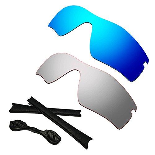 HKUCO Blue/Titanium Polarized Replacement Lenses Plus Black Earsocks Rubber Kit for Oakley Radar Path