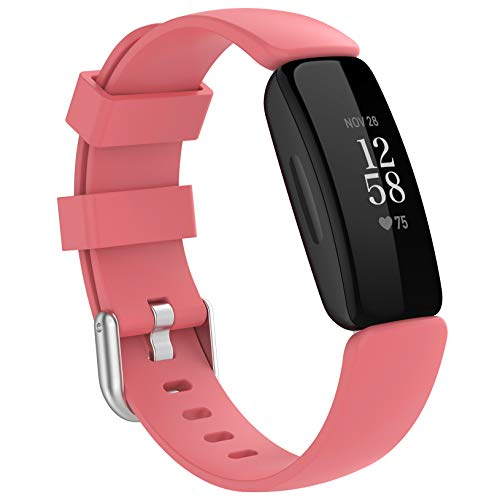 HQzon Band Compatible with Fitbit Inspire 2, Soft Silicone Adjustable Waterproof Sport Replacement Wristband Accessory for Inspire 2 Fitness Tracker