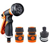QTCD Manguera de jardín Pistola de pulverización Set 8 Patrones de boquillas de Alta presión, Antideslizante diseño, Perfecto for Las Plantas de riego de Coches Lavado de Ducha for Mascotas fanghua