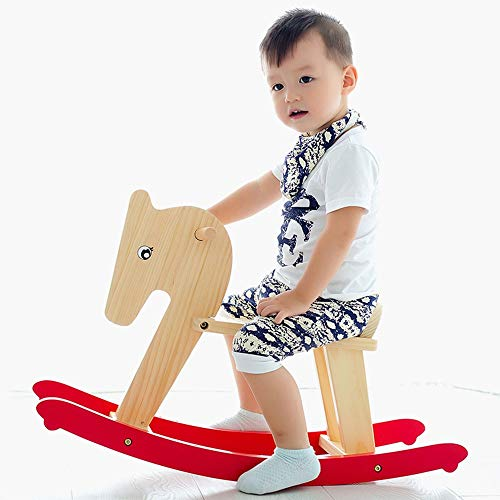 Xyanzi-Cheval à Bascule Bébé Rocking Horse Kid Tour sur Le Jouet for 1-3 Ans en Bois Jouet bébé Enfant en Bas âge à Bascule Rocker siège de bébé à Bascule for Animaux Jardin Divertissement Jouer