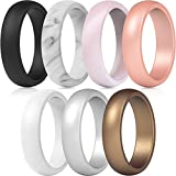 ThunderFit Silicone Rings, 7 Rings Wedding Bands for Women - 5.5 mm Wide (Women Bronze, White, Rose Gold, Silver, Light Pink, Marble, Black, 6.5-7 (17.3mm))