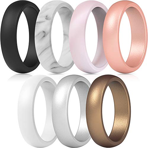 ThunderFit Silicone Rings, 7 Rings Wedding Bands for Women - 5.5 mm Wide (Women...